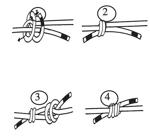 Das Bild zeigt in vier schwarz-weiss Grafiken wie ein doppelter Spierenstich mit der Beal 5,5mm Dyneema Reepschnur gefädelt wird.