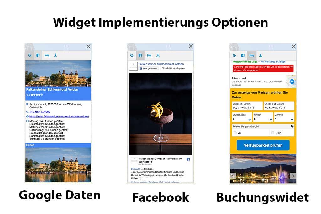 Das Bild zeigt die Widget Implementierungs Optionen für die AlpinePano Tour. Es sind drei Handy Screens zu sehen. Von links nach Rechts: Google My Business, FAcebook und das Buchungswidget.