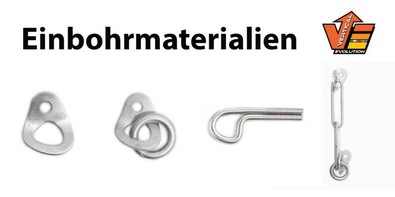Das Bild zeigt Einbohrmaterialien für Kletterrouten von Vertical Evolution. Von Links nach Rechts eine silber glänzende Bohrhakenlasche, eine Lasche mit Ring, einen Klebehaken und einen Umlenker.