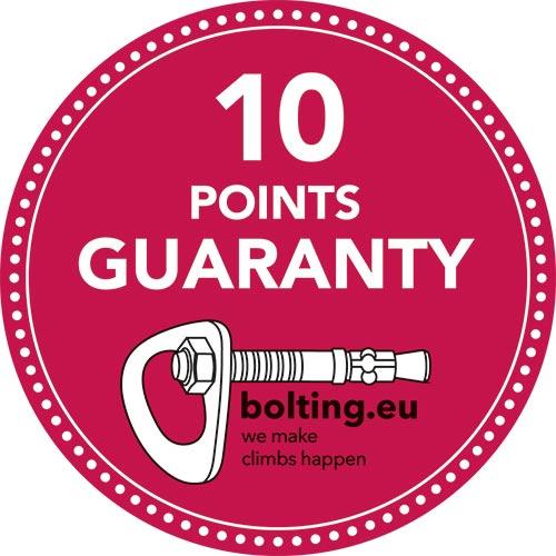 """Das Bild zeigt die 10 Punkte Garantie Plakette von Bolting.eu. Ein pinker Kreis mit weißen Punktem am Rand sowie dem Schriftzug """"10 Points Guaranty"""" und das Bolting.eu Logo."""