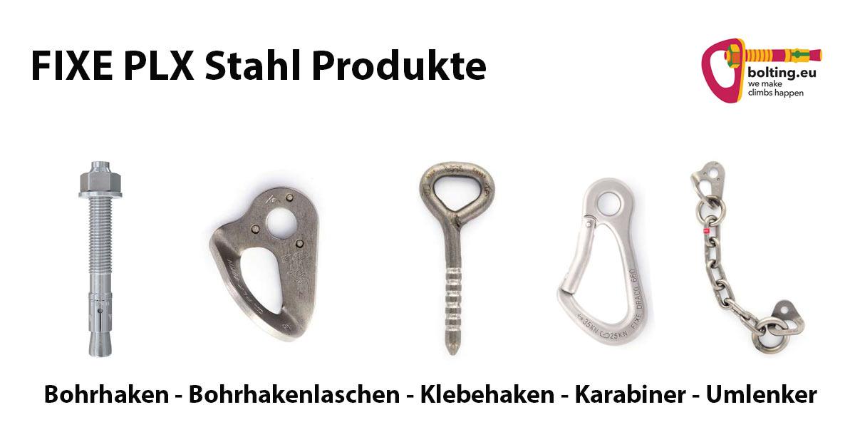 """Das Bild zeigt eine Reihe von Fixe PLX - Duplex Stahl Produkten. Auf weißem Grund sind von links nach rechts mit entsprechender Bezeichnung unterhalb zu sehen: Bohrhaken, Bohrhakenlasche, Klebehaken, Karabiner und Umlenker. Links oben die Überschrift """"Fixe PLX Stahl Produkte"""", rechts oben im Eck das bunte bolting.eu Logo."""