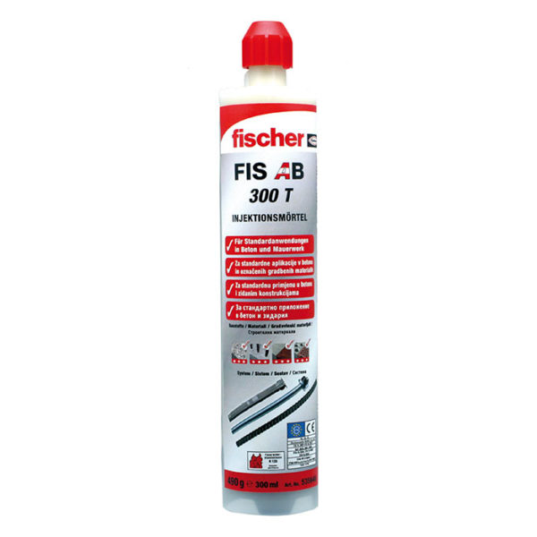 Das Bild zeigt die Kartusche des Injektionsmoertel Fischer FIS AB 300T. Die rote Kartusche mit dem Front Label steht aufrecht in Bildmitte auf weißem Grund.