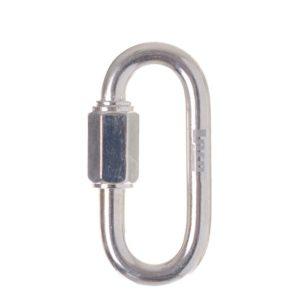 Das Bild zeigt ein silber glänzendes Schraubglied 12mm verzinkt in einem weißem Quadrat. Es steht vertikal in Bildmitte mit dem Schraubverschluss nach links.