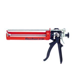 Das Bild zeigt eine rote Auspresspistole Fischer FIS AM. Sie ist horizontal in Bildmitte zu sehen, mit dem schwarzen Kunststoffgriff rechts.