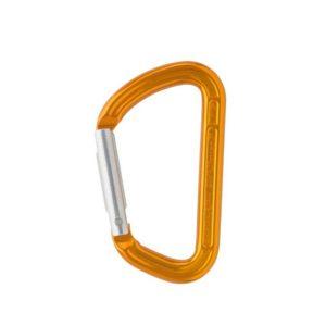 Das Bild zeigt einen orangen Materialkarabiner auf einem weißem Quadrat.