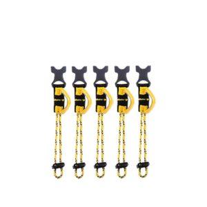 Das Bild zeigt die Beal Air Leash Extensions. Fünf gelb-schwarze Wekzeug Aufhängeschlaufen die vertikal aufgelegt sind. Oben die schwarzen Klippser zum Andocken an den Klipps des Zubehörs.