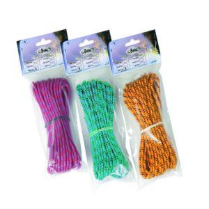 Das Bild zeigt drei Beal Reepschnur Packungen nebeneinander in den Farben violett, grün und orange.