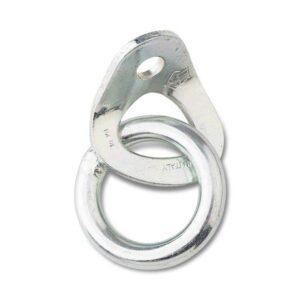 Das Bild zeigt eine Bohrhakenlasche mit Ring verzinkt. Die silberne LAsche mit dem Ring steht in Bildmitte, man erkennt alle Produktdetails.