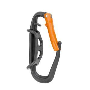 Das Bild zeigt den schwarz-orangen Climbing Technology Materialkarabiner Hammer Lodge auf einem weißem Quadrat.