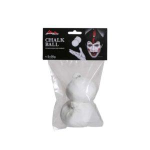 Das Bild zeigt einen weißen Doppel Chalkballs Austrialpin. Die Bälle sind in einer durchsichtigen Verpackungshülle, oberhalb ist ein Label mit Produktaufschrift und Clown Logo befestigt.