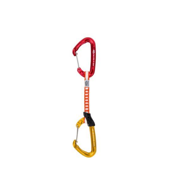 Das Bild zeigt eine Fly Weight Evo Expressschlinge von Climbing Technology. Die Express steht aufrecht im Bild. Oben der rote hakenseitige Karabiner, in der Mitte die weiss-rote Expressschlinge, unten der gelbe seilseitige Karabiner. Die Schnapper schauen nach links.