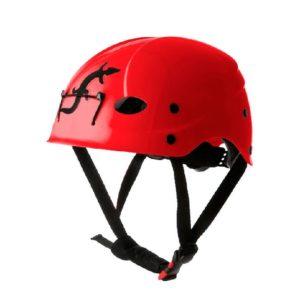 Das Bild zeigt einen roten Kletterhelm Fixe mit schwarzem Kinnband.
