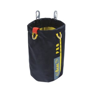 Das Bild zeigt die schwarze Werkzeugtasche Beal Tool Bucket in einem weißem Quadrat. Sie steht aufrecht in Bildmitte mit der Öffnung nach oben.