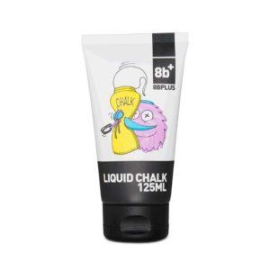 Das Bild zeigt eine Tube 8bplus Liquid Chalk. Man siegt das produkt von der Vorderseite und erkennt die Comic Zeichnung eines Chalkbags welches eine Tube ausdrückt, das 8b+ Logo sowie Text im schwarzen Balken.