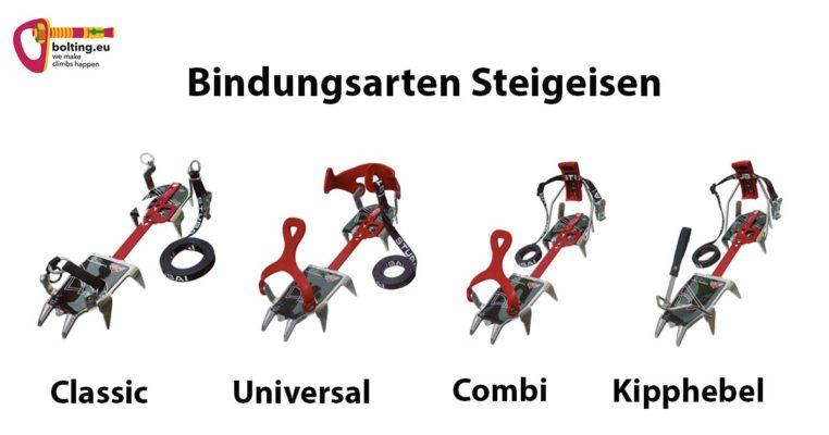 Die Grafik beschreibt die vier unterschiedlichen Bindungs Typen für das Stubai Steigeisen Light. Von links nach rechts sind die classic, universal, combi und Kipphebel Bindung zu sehen.