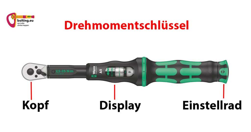 Das Bild zeigt eine Grafik welche einen Drehmomentschlüssel erklärt. Zu sehen ist das rodukt mit den wichtigsten Bauteilen Kopf, Display und Einstellrad.