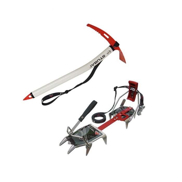 Das Bild zeigt zwei Basis Produkte einer Bergsteiger Ausrüstung. Ein Paar Steigeisen und einen Eispickel.