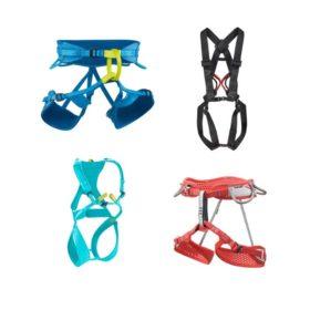 Das Bild zeigt vier verschiedene Klettergurte. Von links oben im Uhrzeigersinn sind zu sehen: ein blauer Klettergurt Herren, ein schwarzer Komplettgurt, ein roter Damengurt und links unten ein türkiser Kinder Klettergurt.