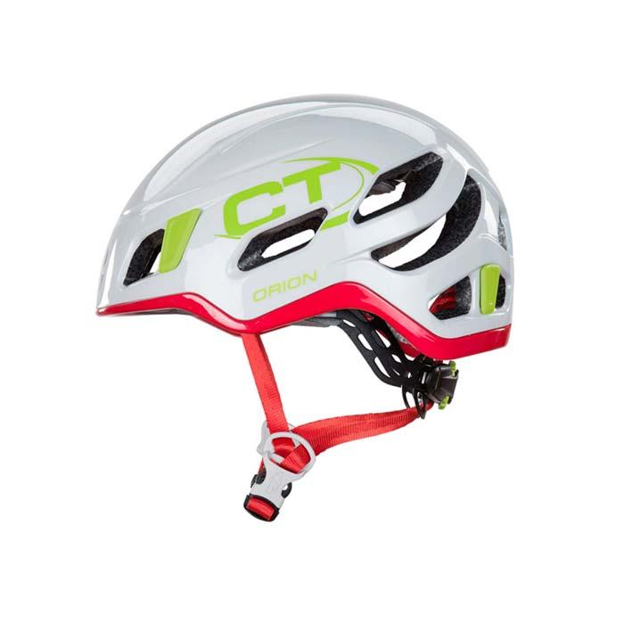 Das Bild zeigt einen weiß-pinken Kletterhelm Damen von Climbing TEchnology. Der Helm ist in Bildmitte eines weißen Quadrates zu sehen. Die Perspektive ist exakt von der Seite und man erkennt alle Produktdetails des Kletterhelms sowie den CT Schriftzug in grün.