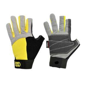 Das Bild zeigt ein Paar Klettersteig Handschuhe Kong Alex Gloves. Es wird der linke Handschuh von der Rückseite, sowie der rechte Handschuh von der Vorderseite gezeigt. Man erkennt alle Produktdetails sowie die offenen Mittel- und Zeigefinger.