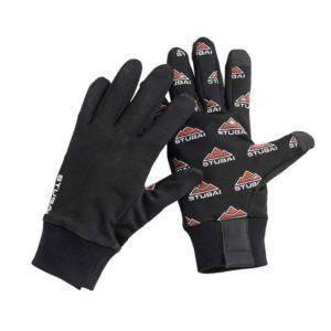 Das Bild zeigt ein Paar Stubai Allround-Handschuhe Five. Man sieht in einem weißem Quadrat den linken Handschuh von der Rückseite und den rechten von der Vorderseite. Alle Produktdetails sind gut zu erkennen.