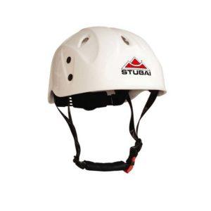 Das Bild zeigt den weißen Kletterhelm Stubai Delight Junior. Der klassische Hartschalen Kletterhelm für Kinder ist leicht von links und schräg oberhalb zu sehen. Man erkennt alle Produktdetails, das Stubai Logo sowie die Kinn Riemen.