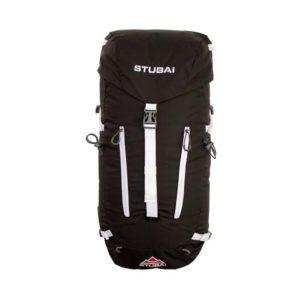 Das Bild zeigt den Stubai Rucksack Alpin 35 plus von der Vorderseite. Man erkannt alle Produktdetails wie Zipper, Kompressionsriemen und Deckeltasche.
