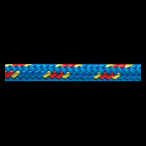 Das Bild zeigt eine blaue Beal 6mm Reepschnur. Sie ist horizontal in Bildmitte zu sehen.