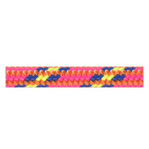 Das Bild zeigt die Beal 7mm Reepschnur in Pink mit bunter Musterung. Die Reepschnur liegt horizontal im Bild.