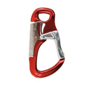 Das Bild zeigt den Kong Tango Klettersteigkarabiner rot. Er steht aufrecht in Bildmitte mit dem Schnapper nach rechts.