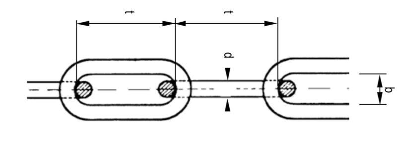 Das Bild zeigt eine Grafik mit Spezifikationen für eine Rundstahlkette langgliedrig.