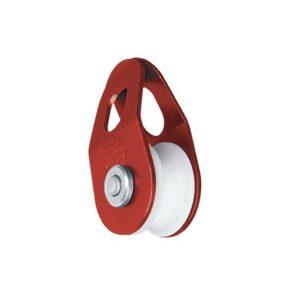 Das Bild zeigt die Seilrolle Kunststoff Stubai Easy-Pull. Die Mini Seilrolle steht aufrecht in Bildmitte. Man erkennt das rote Alu-Gehäuse sowie die Kunststoffrolle im Kern.
