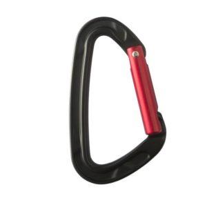 Das Bild zeigt den Stubai Schnappkarabiner Rock Clip 2.0 mit gebogenem Schnapper. Der schwaze Kletterkarabiner steht aufrecht im Bild mit dem roten Schnapper nach rechts.