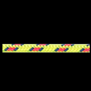 Das Bild zeigt eine gelbe Beal 5mm Reepschnur. Sie liegt horizontal in Bildmitte.