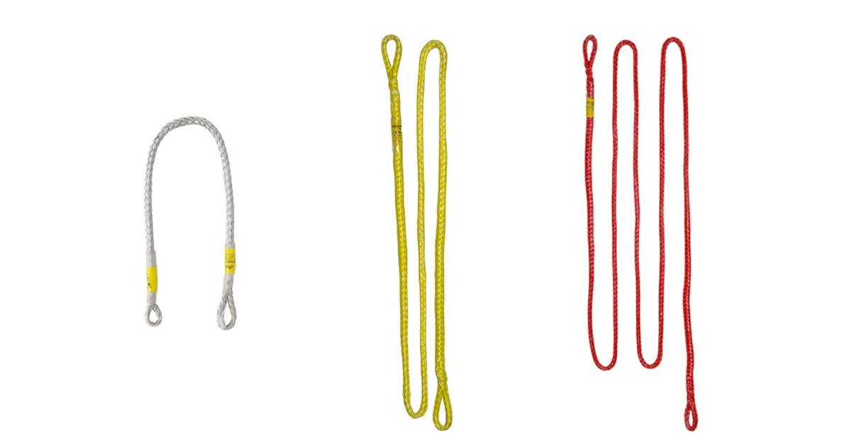 Das Bild zeigt drei modelle der Alpinschlinge Dyneema Austrialpin. Von links nach rechts sind zu sehen: die weiße 45cm Schlinge, die gelbe 120cm und die rote 240cm Schlinge.