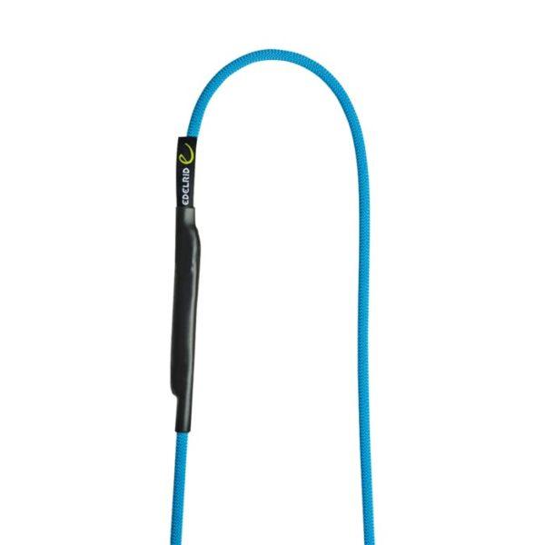 Das Bild zeigt die Edelrid Aramid Cord Sling 6mm. Zu sehen ist die blaue Aramid Schlinge mit einem Loop nach oben auf einem weißem Quadrat.