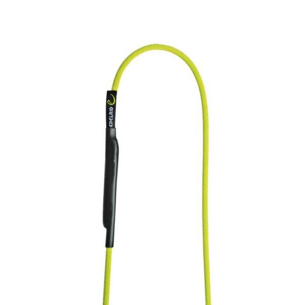 Das Bild zeigt die Edelrid Aramid Cord Sling 6mm. Zu sehen ist die grün-gelbe Aramid Schlinge mit einem Loop nach oben auf einem weißem Quadrat.