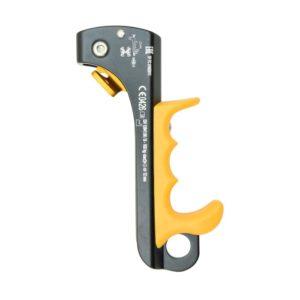 Das Bild zeigt die Kong Futura Handsteigklemme. Der Mini Jumar ist in Bildmitte. Man erkennt den gelben Griff, den grauen Steg sowie den goldenen Trigger der Klemmnocken.