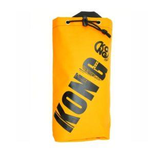 """Das Bild zeigt die Kong Tool Bag Materialtasche. Die orange Materialtasche steht aufrecht in Bildmitte. Man erkennt ihre Dimension, den Top Verschluss sowie das große """"KONG"""" Logo."""