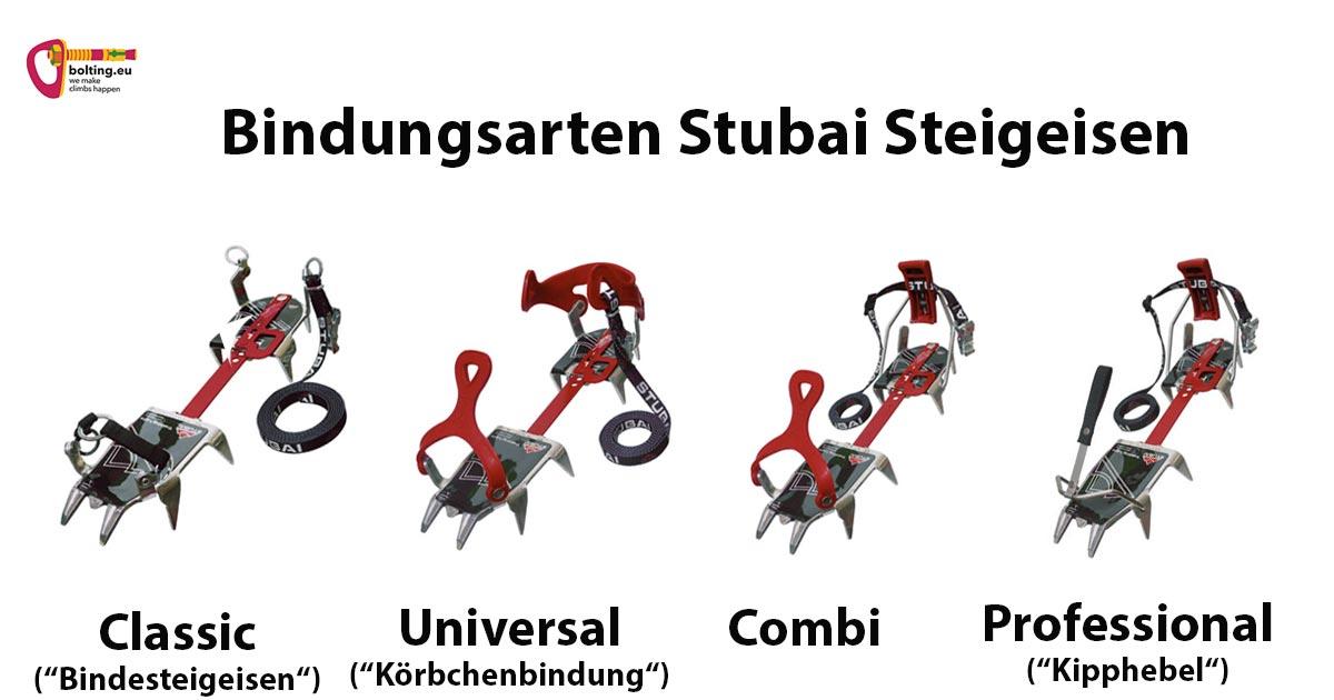 Das Bild zeigt anschaulich die vier Stubai Steigeisen Bindungsarten. Von links nach rechts: classic, universell, combi und professional.