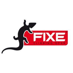 Das Bild zeigt das Logo des spanischen BErgsport Herstellers Fixe Climbing. Ein schwarzer Salamander links und der Fixe Schriftzug in einem roten Feld mit weißer Schrioft daneben.