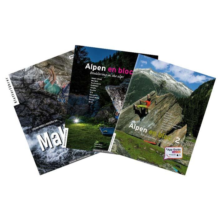 Das Bild zeigt drei Bücher zum Thema Boulderführer die in keiner Boulderausrüstung fehlen sollten. Zu sehen sind die Guidebooks vom Maltatal, Alpen en Bloc Eins und Zwei.