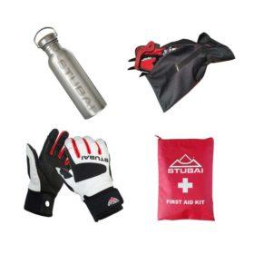 Das Bild zeigt eine Auswahl an Zubehör Hochtouren. Zu sehen sind von links oben im Uhrzeigersinn. Eine Alu Trinkflasche, eine Steigeisentasche, ein 1. Hilfe Set und eine Paar Lederhandschuhe.