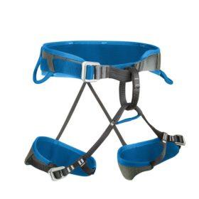 Das Bild zeigt einen Gurt zum Thema Klettergurt Klettersteig, einen blauen Salewa Xplorer Klettersteiggurt. Der Gurt ist in Bildmitte zu sehen. Man erkennt seine bauweise, die Beinschnallen, die Hüftschnalle sowie die zwei Materialschlaufen.