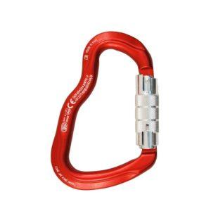 Das Bild zeigt den Kong Ferrata Twist Lock Sleeve. Der rote Klettersteigkarabiner ist von vorne zu sehen mit dem silbernen Drehverschluss nach rechts.