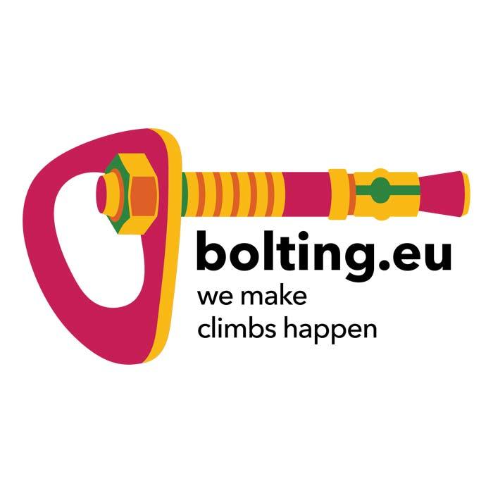 """Das Bild zeigt das Logo von bolting.eu. Einen bunten Bohrhaken mit einer Bohrhakenlasche. Rechts darunter der Claim """"we make climbs happen""""."""