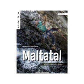Das Bild zeigt das Cover des Maltatal Kletterführer. Zu sehen ist ein Kletterer mit Hut vor einem brausendem Bach in einem Überhang klettert.