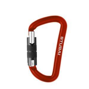 DAs Bild zeigt den Stubai Materialkarabiner Tool. Der rote Mini Karabiner steht aufrecht in Bildmitte mit demschwarzen Twist Lock Verschluss nach links