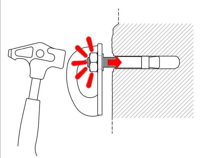 Das Bild zeigt eine Grafik, in welcher ein Bohrhaken mit Bohrhakenlasche in ein Bohrloch geschlagen wird.
