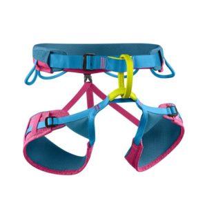 Das Bild zeigt den Edelrid Jayne Klettergurt. Der Damen Klettergurt ist ausgebreitet in Bildmitte zu sehen. Man erkennt die verstellbaren Beinschlaufen, die gelbe Anseilschlaufe und die blauen Materialschlaufen.